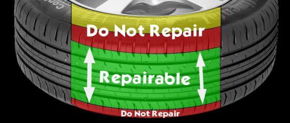 Image of the repairable area of a tyre