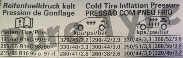 Ford Galaxy 2001 to 2006 Tyre Pressure Placard