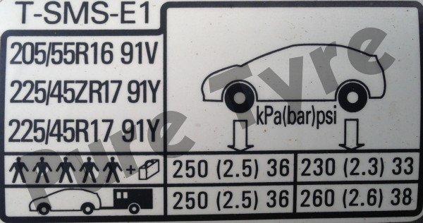 Superior Honda Civic 2.2 CDTI Tyre Pressure Placard