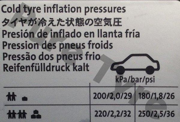 Volkswagen UP Tyre Pressure Placard | Pure Tyre 01603 462959