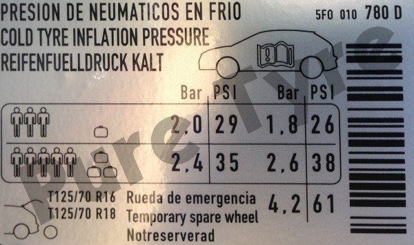 Car Battery Size Chart >> Seat Leon Tyre Pressure Placard | Pure Tyre 01603 462959