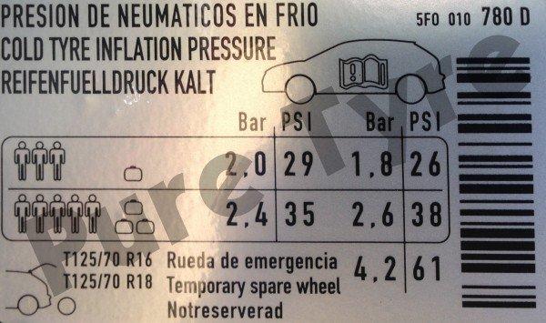 Seat Leon Tyre Pressure Placard 2006