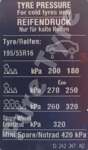 Car Battery Size Chart >> Vauxhall Corsa Tyre Pressure Placard   Pure Tyre 01603 462959