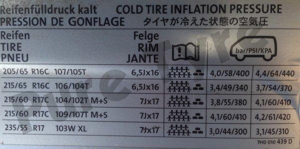 Volkswagen Transporter Tyre Pressure Placard Pure Tyre