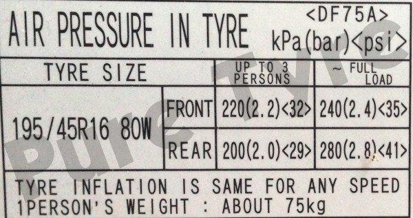 Mazda 2 Tyre Pressure Placard
