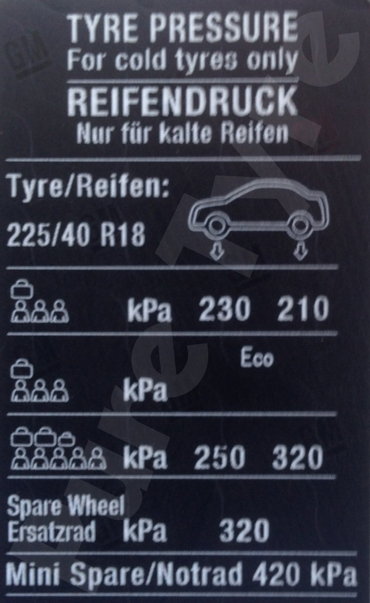 Car Battery Size Chart >> Vauxhall Meriva 225/40R18 on Tyre Pressure Placard   Pure Tyre 01603 462959