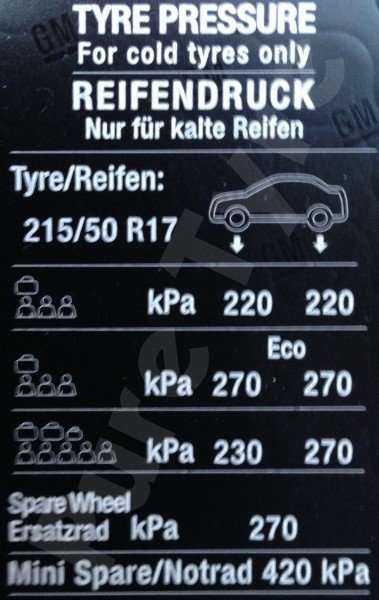 Car Battery Size Chart >> Vauxhall Astra Tyre Pressure Placard 21550R17 | Pure Tyre ...