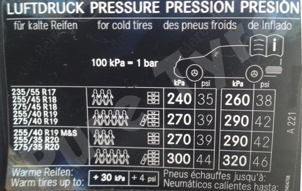 Mercedes S – Class (221) Tyre Pressure Placard