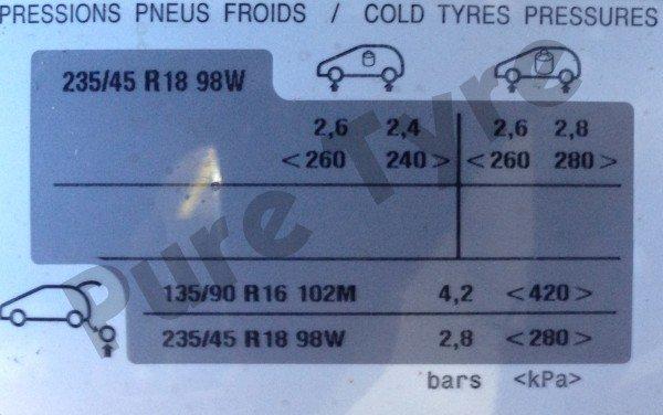 Peugeot 3008 23545R18 Tyre Pressure Placard