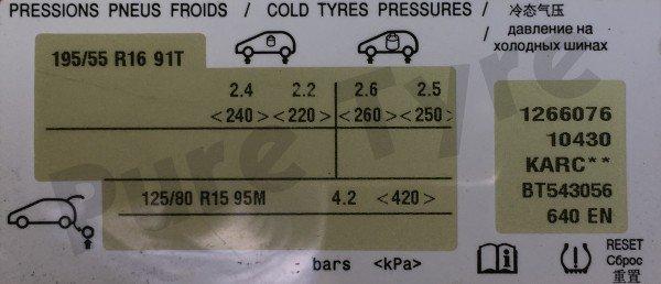 Citroen C3 Picasso Tyre Pressure Placard 19555R16 | Pure ...
