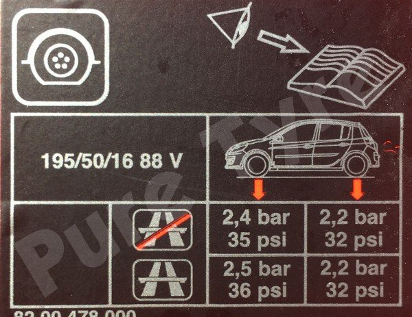 Renault Clio Tyre Pressure Placard