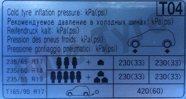 Hyundia Santa Fe Tyre Pressure Placard 23555R19