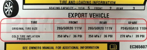 Jeep Grand Cherokee 2011 on Tyre Pressure Placard
