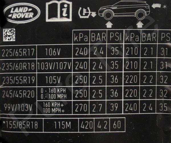 Range Rover Evoque Tyre Pressure Placard Pure Tyre 01603