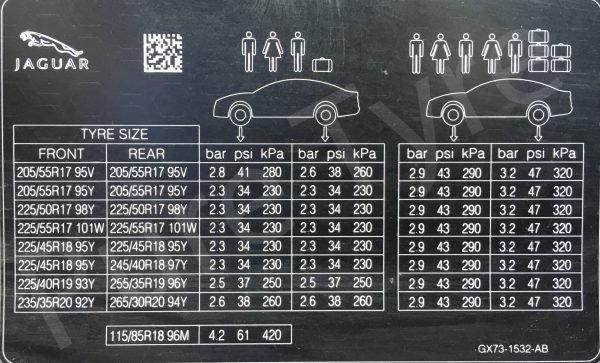 Car Battery Size Chart >> Jaguar XE Tyre Pressure Placard | Pure Tyre 01603 462959