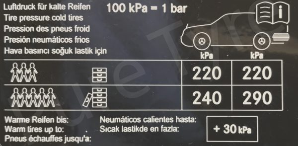 Car Battery Size Chart >> Mercedes GLC Tyre Pressure Placard | Pure Tyre 01603 462959
