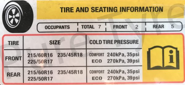 Chevy Cruze Tire Pressure >> Chevrolet Cruze Tyre Pressure Placard Pure Tyre 01603 462959