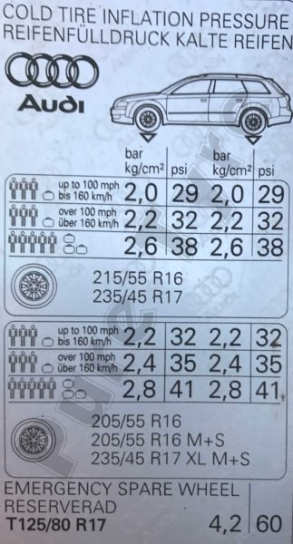 Car Battery Size Chart >> Audi A4 Tyre Pressure Placard 01 - 07 | Pure Tyre 01603 462959