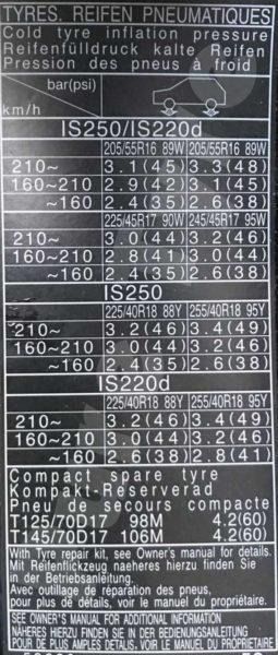 Lexus-IS200D-Tyre-Pressure-Placard-255x6