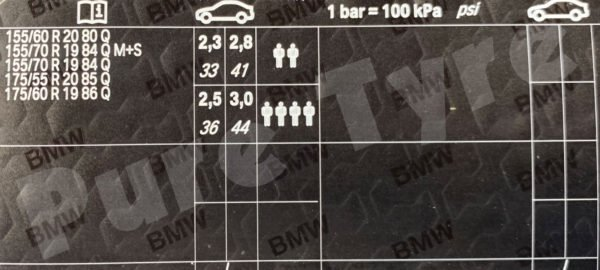 Car Battery Size Chart >> BMW I3 Tyre Pressure Placard | Pure Tyre 01603 462959
